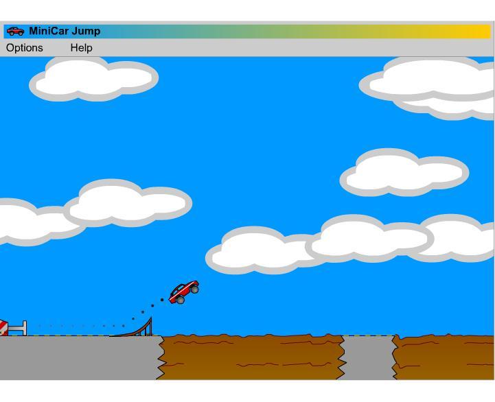 Играть простые игры онлайн. Прыжки с трамплина маленькой машинкой
